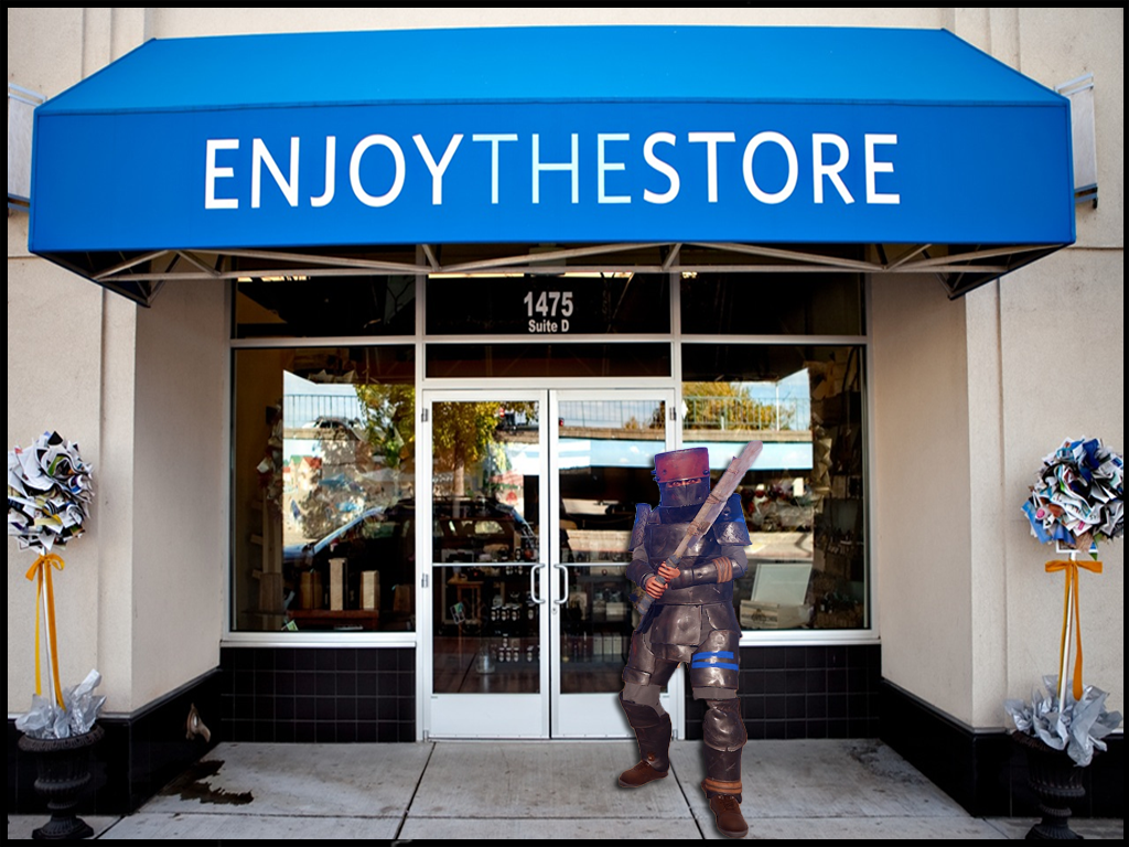 Rust player standing in front of a store