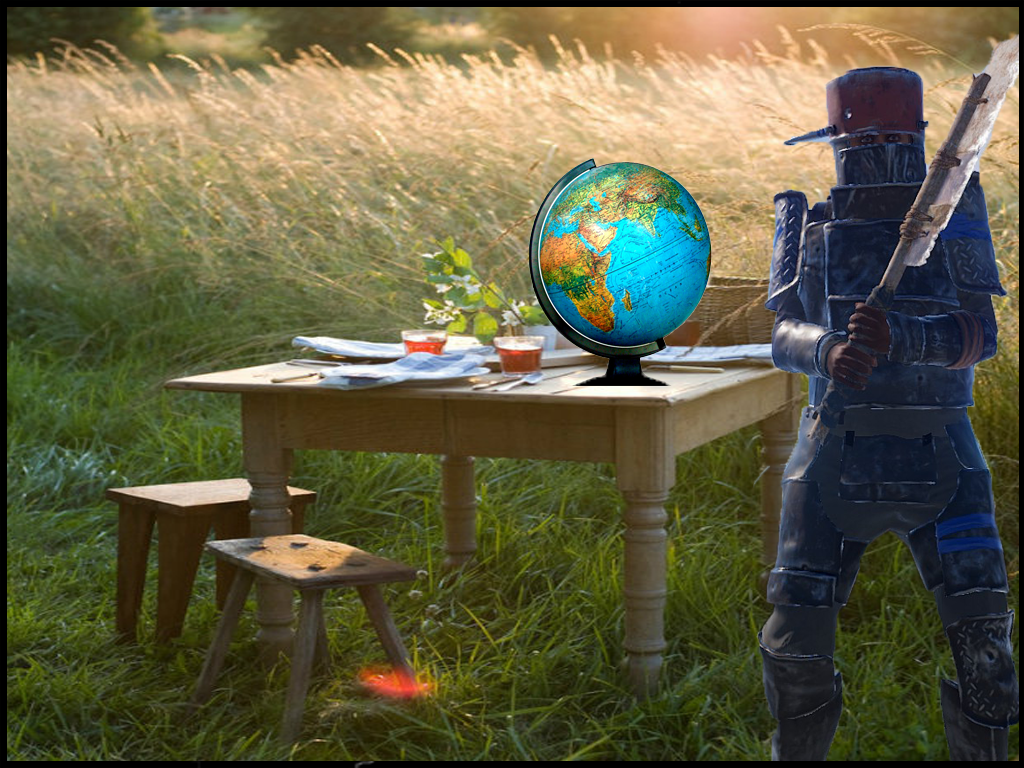 Rust player standing next to a globe