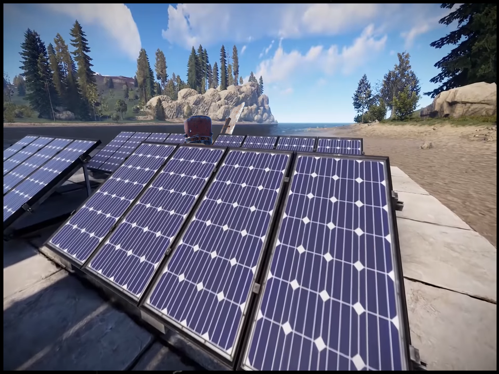 Rust player hiding in solar panels